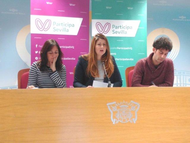 Los tres concejales de Participa Sevilla, Susana Serrano, Honorato y Moreno