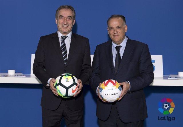 Javier Lozano (LNFS) y Javier Tebas (LaLiga)