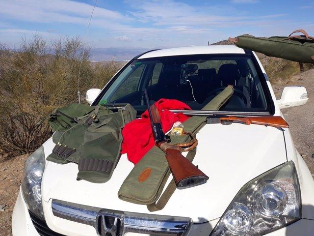 Armas intervenidas en la cacería ilegal