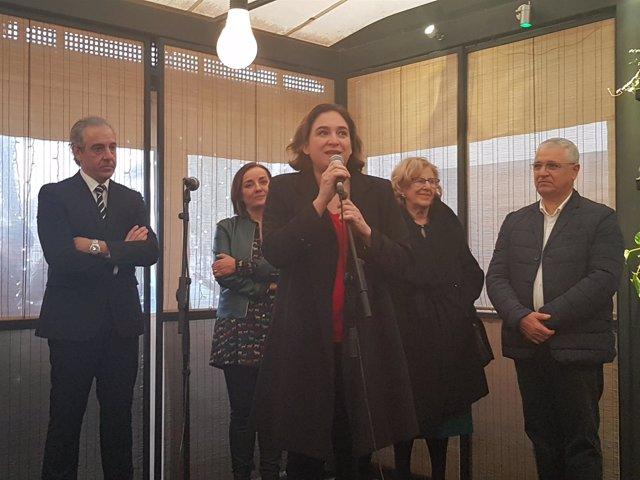 Ada Colau, Manuela Carmena, Pere Chias y José Antonio Aparicio