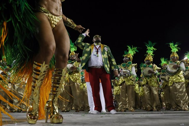 Drum queen Juliana Paes from Grande Rio samba school performs during the first n