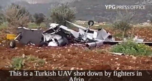 Dron turco derribado en Afrin, Siria