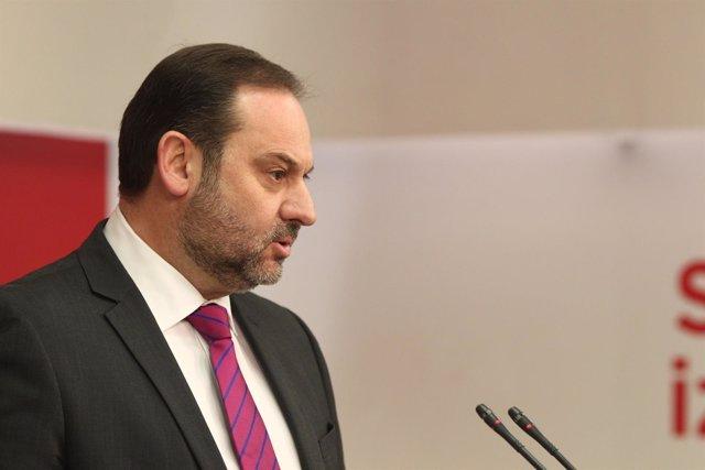 Rueda de prensa de José Luis Ábalos en la sede del PSOE