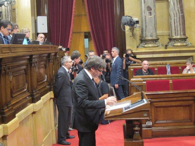 El presidente C.Puigdemont comparece ante el pleno del Parlament este martes
