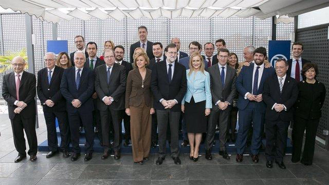 Mariano Rajoy con los presidentes autonómicos del PP