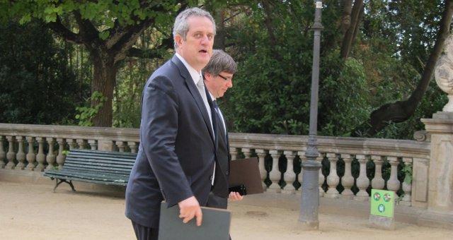 C.Puigdemont y J.Forn llegando a la Junta de Seguridad
