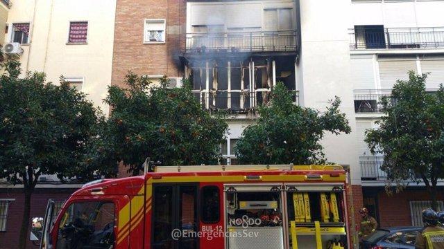 Incendio en la plaza de la Juncal.
