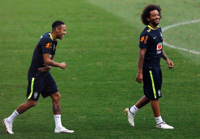 Marcelo y Neymar con Brasil