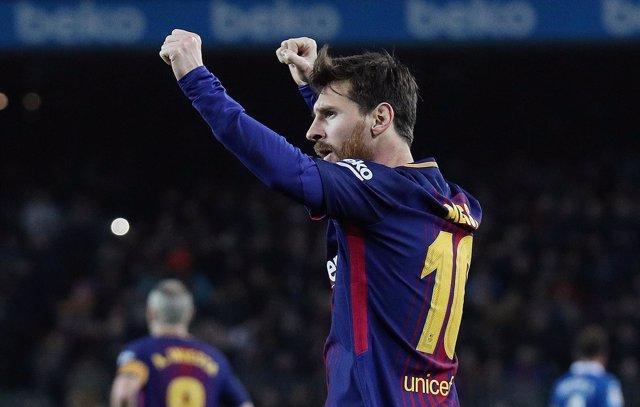 Lionel Messi tras marcar al Espanyol