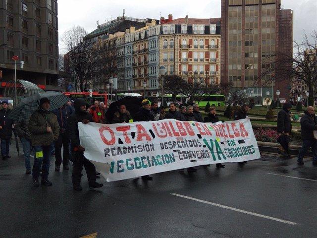 Trabajadores de la OTA se manifiestan por Bilbao