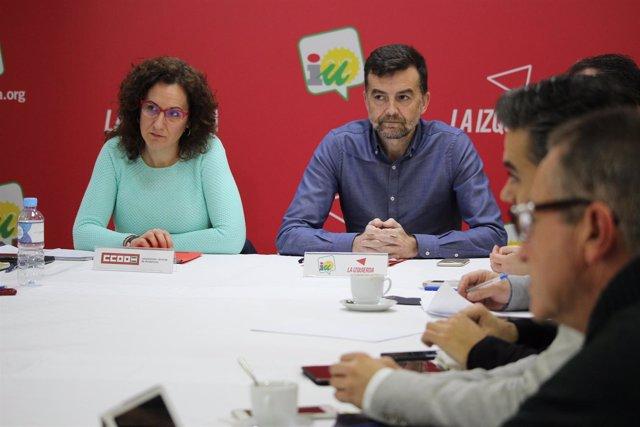 Nuria López (CCOO-A), y Antonio Maíllo (IULV-CA)