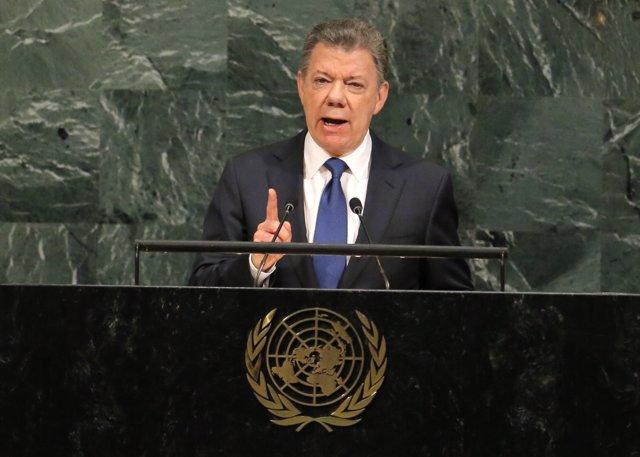 Colombian President Juan Manuel Santos Calderon addresses the 72nd United Nation