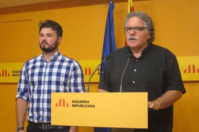 Els diputats d'ERC al Congrés Joan Tardà i  Gabriel Rufián
