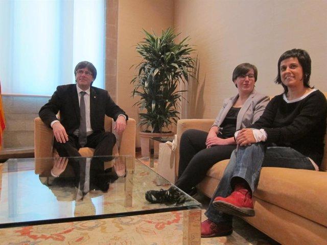 Carles Puigdemont (pte.Generalitat) Mireia Boya, Anna Gabriel (CUP)