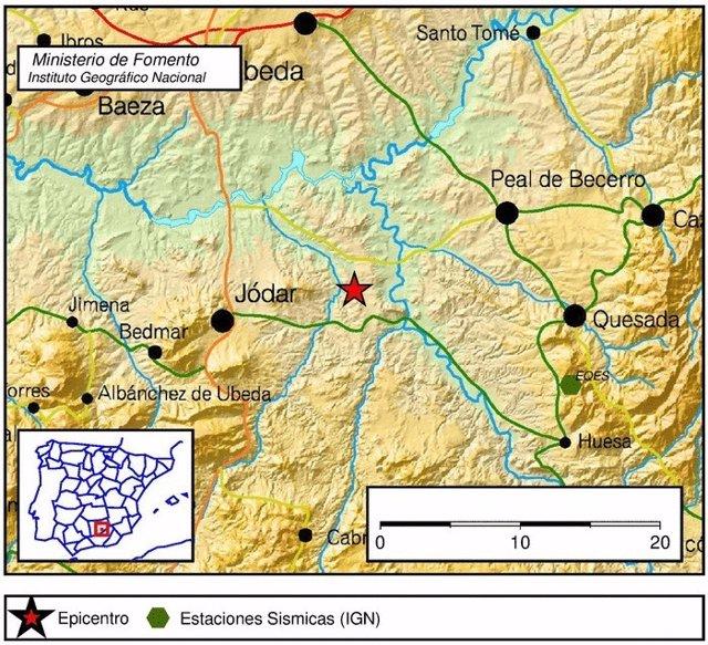 Localización del terremoto con epicentro en Jódar (Jaén)