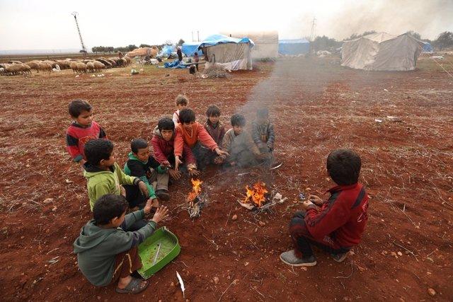 Desplazados por la violencia en idlib