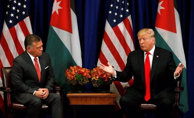 El presidente de EEUU Donald Trump con el rey Abdulá II de Jordania