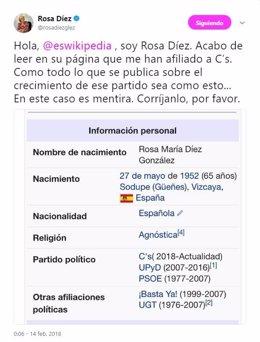 Pritesta de Rosa Díez contra Wikipedia