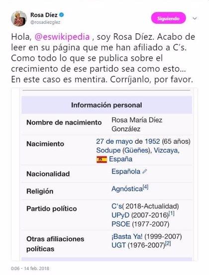"""Rosa Díez protesta al verse citada como afiliada de Ciudadanos en Wikipedia: """"Es mentira"""""""