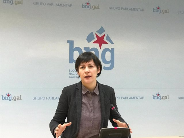 La portavoz nacional del BNG, Ana Pontón, en rueda de prensa Parlamento