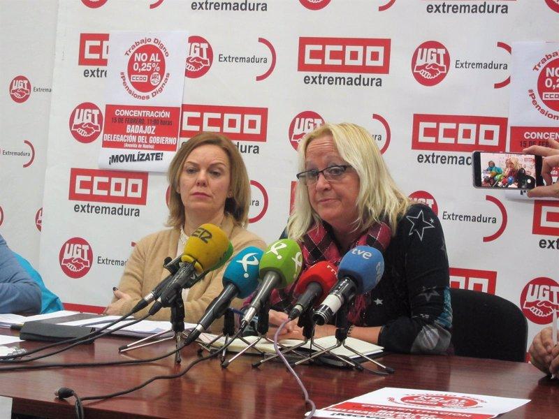 CCOO y UGT Extremadura se concentrarán este jueves en Badajoz para defender el sistema público de pensiones