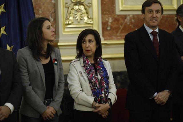 Irene Montero, Margarita Robles y Rafael Hernando en la visita de Abbas