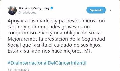 Rajoy se compromete en Twitter a mejorar la prestación de seguridad social para facilitar el cuidado de hijos con cáncer