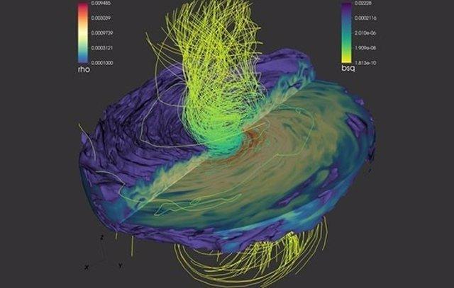 Líneas de campo magnético de agujeros negros supermasivos en fusión