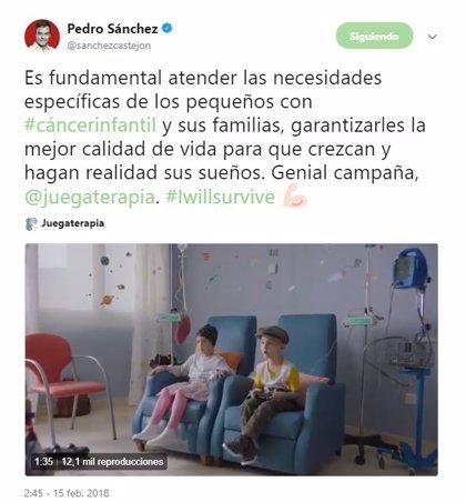 """Pedro Sánchez aboga por atender las necesidades específicas de los niños con cáncer para que """"hagan realidad sus sueños"""""""