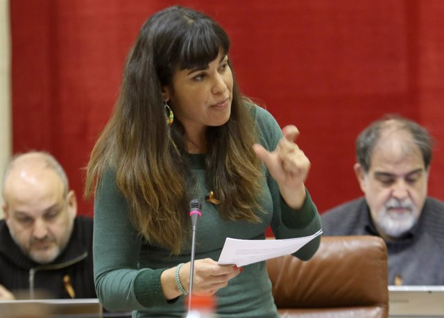 Teresa Rodríguez, durante el debate con Susana Díaz