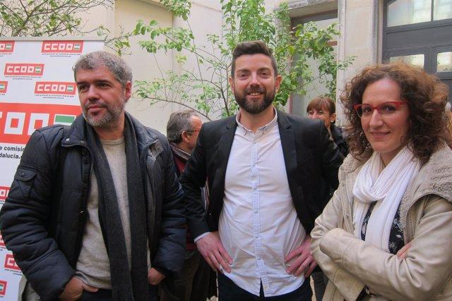 Unai Sordo, junto a Francisco Cantero y Nuria López.