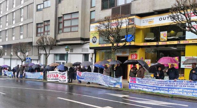 Manifestación de Long Hope reivindicando sus pensiones en Noruega