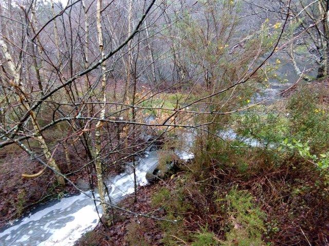 Estado del río Brandelos tras el desbordamiento de una balsa