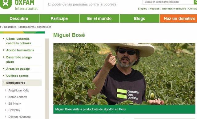 Miguel Bosé embajador de Oxfam visitando un proyecto