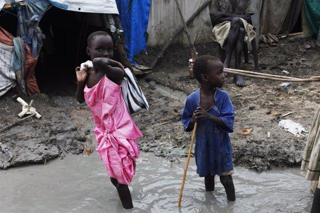 Foto de archivo de un campo de desplazados internos de la ONU en Sudán del Sur