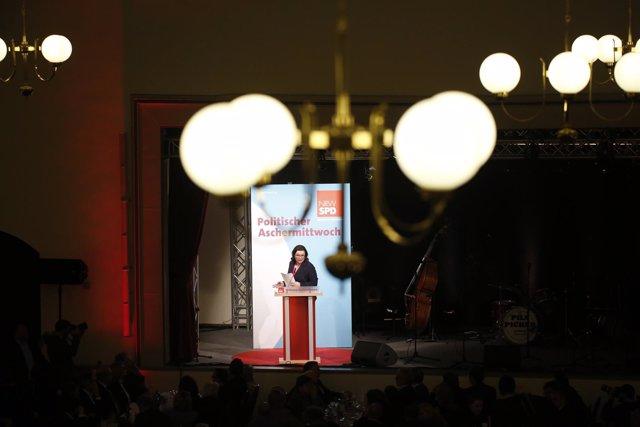 La presidenta del SPD, Andrea Nahles