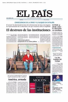 Primera página de El País del 18 de febrero de 2018