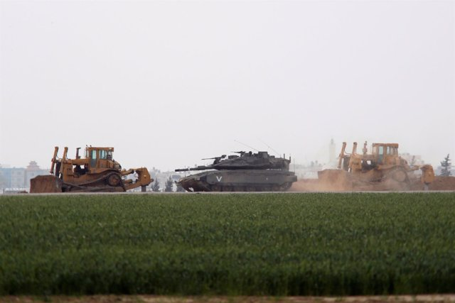 Tanque israelí en el sur de Gaza