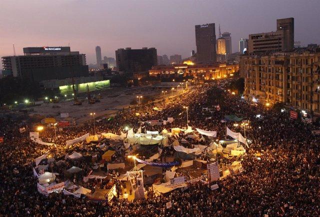 Manifestación Plaza Tahrir, El Cairo, Egipto
