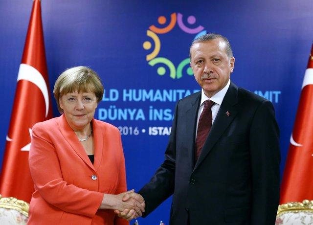 Angela Merkel, y  Recep Tayyip Erdogan
