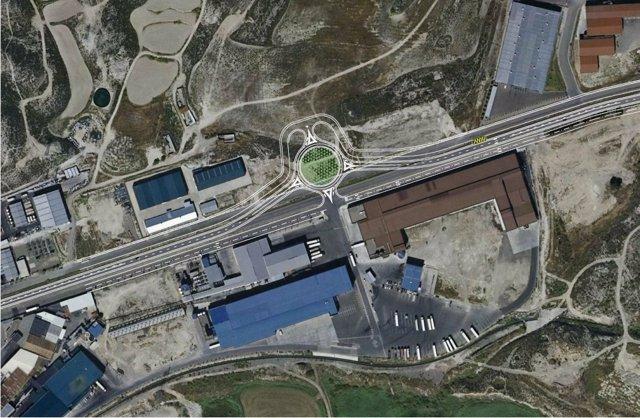 Una rotonda se construirá en la zona norte del polígono Campillo de Zuera