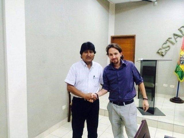 El presidente de Bolivia, Evo Morales, y el líder de Podemos Pablo Iglesias