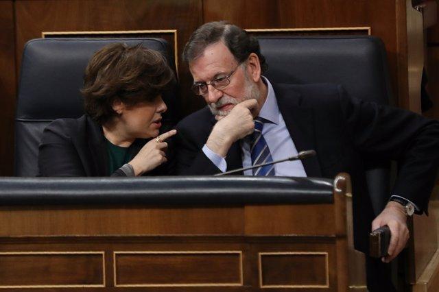 Santamaría y Rajoy en la sesión de control al Gobierno en el Congreso