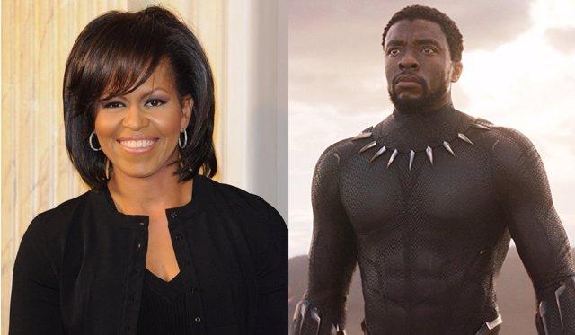 Michelle Obama y Chadwick Boseman en Black Panther