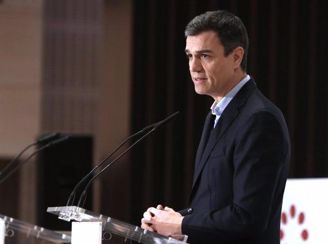 Pedro Sánchez, hoy en un desayuno informativo en Sevilla