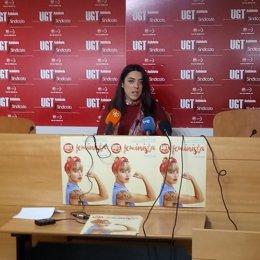 Cristina García, secretaria de Igualdad de UGT-A, en rueda de prensa