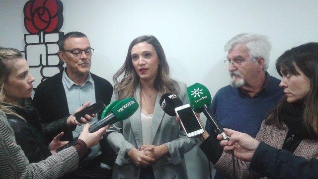 María Márquez, ante los medios de comunicación.