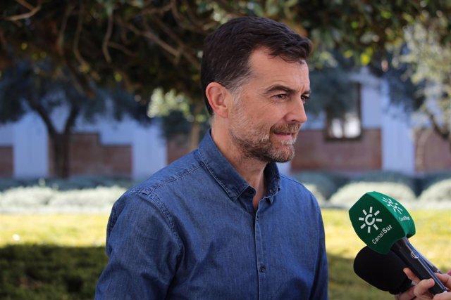 Antonio Maíllo atiende a los medios en el patio del Parlamento andaluz