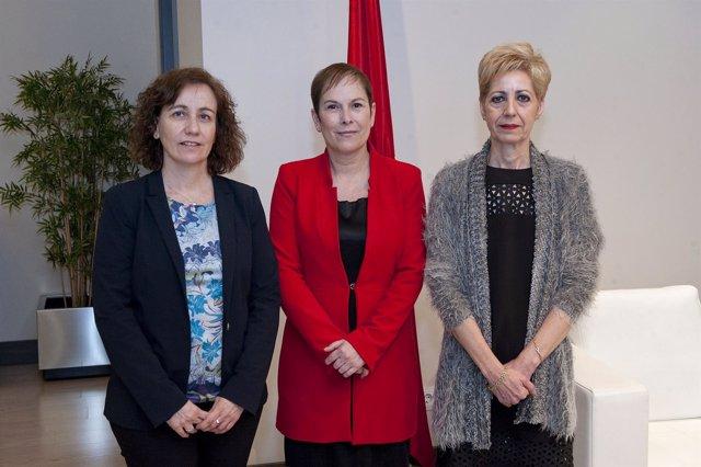 Ana Herrera, Uxue Barkos y Yolanda González.