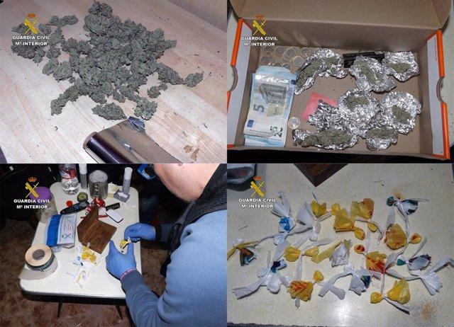 Imagen del operativo de la Guardia Civil, con las dosis de droga incautadas
